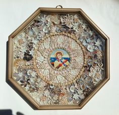 "Sailors Valentine Shell Art, 16""."