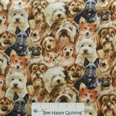 Petpourri Elizabeth Studio 1255Multi Dog Fabric at beehappyquilting.com