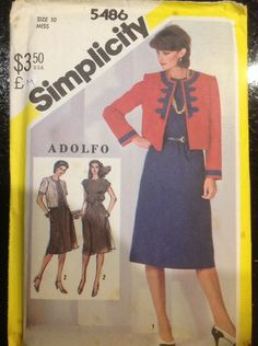 Vintage 80's Simplicity Adolfo Dress Jacket Pattern 5486 | eBay