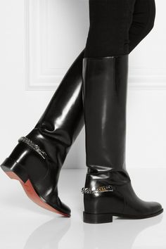 Christian Louboutin|Cate chain-trimmed leather riding boots | net-a-por...