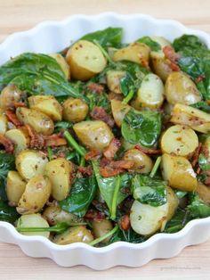 Side Dish Recipes, Vegetable Recipes, Vegetarian Recipes, Cooking Recipes, Healthy Recipes, Spinach And Potato Recipes, Warm Salad Recipes, Cooking Tips, Spinach Salad Recipes