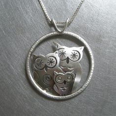 Silver Owl Family Pendant by BethMillner on Etsy