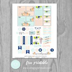 Soft Floral Planner Stickers - Free Printable - Vintage Glam Studio