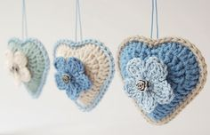 Colorful crochet hearts free pattern