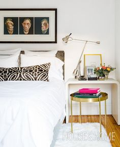 Francis Bacon lithographs and a floral lumbar pillow command attention in homeowner Whitney Keeley's  bedroom. | Photographer: Robin Stubbert | Designer: Absolutely Inc.