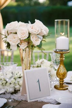 Sophisticated Square Table Numbers | Yvette Roman Photography | TheKnot.com