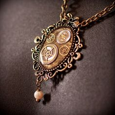 Steampunk Necklace  Watch parts in Resin with by AlternateHistory