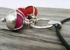Two of my hobbies!  Sterling Silver Pendant Necklace, Felt Ball Charm Necklace, Fall Style, OOAK