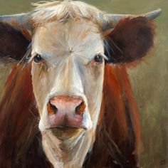 Cow Painting - Veda - giclee print of an original painting on stretched canvas or fine art paper by ArtPaperGarden on Etsy https://www.etsy.com/listing/112936593/cow-painting-veda-giclee-print-of-an