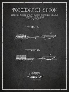 1936 Toothbrush Spoon Patent Print. #patentprints#patentart#patentartprints #medicalprint #medicalart