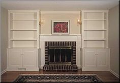 Image result for built in shelving around fireplace