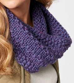 Free Knitting Pattern for Quick Easy Full Circle Cowl - A blend of seed stitch and knit stitches created a pretty texture in this cowl from Michaels. Quick knit in super bulky yarn.