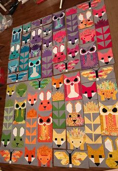 Cute Quilts, Baby Quilts, Elizabeth Hartman Quilts, Fox Quilt, Chenille Quilt, Colorful Quilts, Sampler Quilts, Animal Quilts, Foundation Paper Piecing