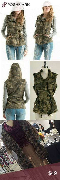 New Arrival soon! Green Camo Vest! So stylish! New Arrival soon! Army Green Camo Vest! Very stylish and warm for chilly fall days, mix and match with almost anything Fashionomics Jackets & Coats Vests