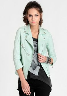 Im actually liking the graphic tee idea with a blazer, and its mint green, super cute.