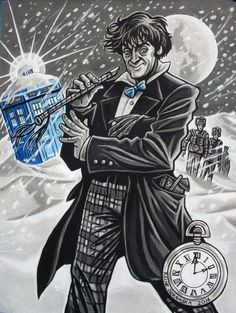 My finished Second Doctor (acrylic gouache and ink).With snow and Cybermen…It's Christmas with the Cybermen, boys and girls!