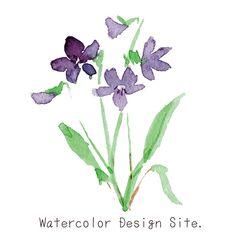 水彩スミレイラスト リクエスト素材です! 散歩してるとハッとする紫や青のスミレが目に飛び込みますよね。 小さい…
