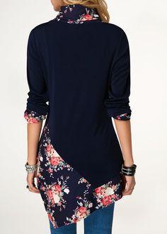 Long Sleeve Navy Asymmetric Hem Printed T Shirt | Rotita.com - USD $25.52