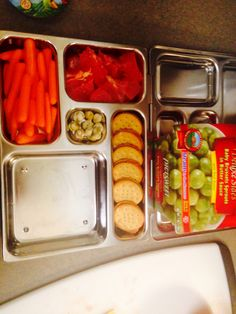 Brussels sprouts, watermelon, carrots, cracker snack