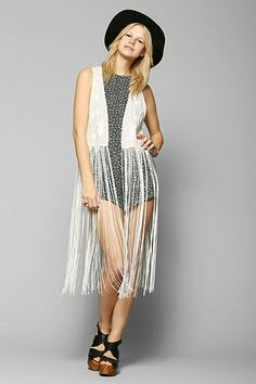 Staring At Stars Embroidered Fringe Maxi Vest