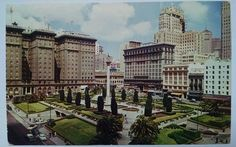 Union Square People & Car Scene San Francisco CA Vintage Postcard B3