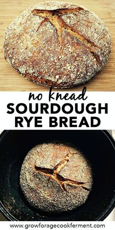 If you love homemade bread, you'll want to make this no knead sourdough rye bread! This traditional bread recipe is so easy to make and tastes amazing. Discover the amazing taste and health benefits of no knead sourdough bread with this easy recipe. Rye Bread Recipes, Knead Bread Recipe, No Knead Bread, Sourdough Recipes, Easy Baking Recipes, Real Food Recipes, Baking Ideas, Vegan Recipes, Cooking Recipes