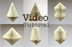 Do it yourself - how to fold 6 different Book sculptures patterns and Video Tutorial You will get a PDF with my hand drawn patterns (diagramma) to fold books into these wonderful Book sculptures and ornaments. As you can see on the feedback at the bottom, many people appreciate my PDF-Tutorial So I decided to make a VIDEO tutorial, where you can see exactly what I do and how I am working. There I am giving you a lot of Tipps and show you how to make a hanging construction. For having an…