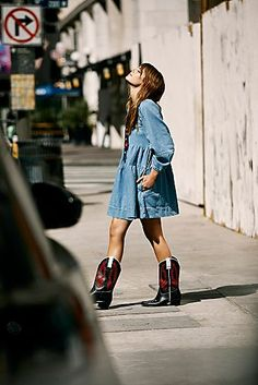 Collection: Prairie in the City Cowboy Boot Outfits, Short Cowboy Boots, Short Outfits, Girl Outfits, Fashion Outfits, Bota Country, Blue Jean Dress, Babydoll Dress, Free People Dress