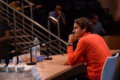 Roger Federer gives a press conference ahead of Australian Open 2014. - Ben Solomon/Tennis Australia