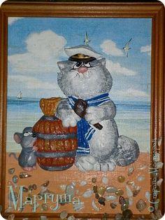 Картина панно рисунок День рождения Декупаж Лепка Кот-Капитан Камень Краска Ракушки Салфетки Тесто соленое фото 1