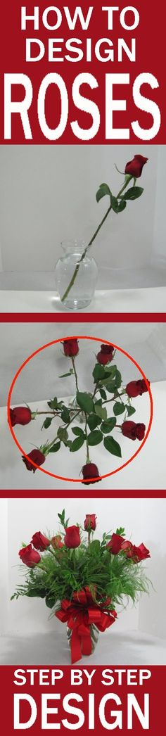 How to Design a Rose Vase - Easy Flower Tutorials  Learn how to create beautiful flower designs, including bouquets, vases, centerpieces, large florals, corsages and boutonnieres.