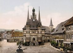 around 1900: coloured photo from Wernigerode Town Hall, Germany