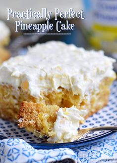 This Practically Perfect Pineapple Cake is topped with a pineapple fluff frosting and is loaded with pineapple flavor! Made without butter or oil!