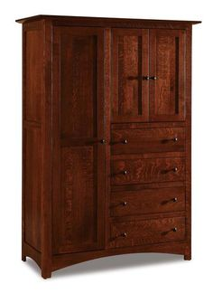 Amish Finland Chifforobe Gorgeous collection of solid wood storage options. Includes adjustable shelves and dovetailed drawers. Choose wood, stain and hardware. Amish made in Indiana. #chifforobe #wardrobe #bedroomstorage #bedroom