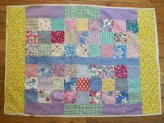 Charming 30s Feedsack Tied Doll Quilt ~ A sweetheart of a little quilt! eBay, vintageblessings