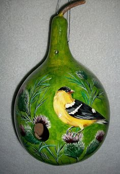 Goldfinch and Thistles Painted Gourd by SharonsCustomArtwork, $40.00