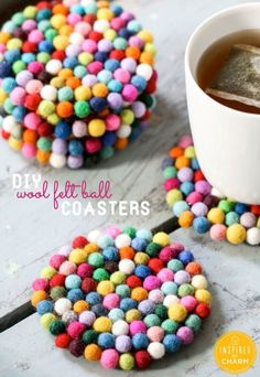 DIY Wool Felt Ball Coasters | Inspired by Charm by maureen