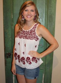 Midnight Yell Top   Texas A&M Game Day Top   Maroon & White Boho Embroidered Gameday SEC Aggie Top   www.sabiboutique.com
