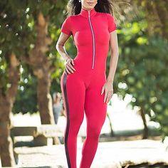 Short Sleeve Zipper Patchwork Tracksuit Women Sportwear Outfit Workout - HESHEONLINE Womens Workout Outfits, Sport Outfits, Suits For Women, Fit Women, Gym Tracksuit, Gym Clothes Women, Gym Clothing, Workout Clothing, Yoga Wear