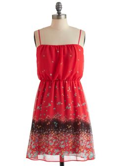 Club Meadow Dress - Mid-length, Red, Multi, Floral, Party, Casual, A-line, Spaghetti Straps