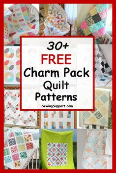 Free Charm Pack Quilt Patterns: Over 30 diy projects and tutorials for quilts using charm pack fabric bundles inch squares). Charm Pack Quilt Patterns, Charm Pack Quilts, Charm Quilt, Beginner Quilt Patterns, Baby Quilt Patterns, Patchwork Patterns, Quilt Tutorials, Quilting Patterns, Quilting Ideas