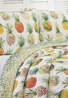 100+ Pineapple Bedding Sets! We have tons of pineapple bedding, comforters, duvet covers, quilts, sheets, throw pillows, shams, and more. Find all sorts of pineapple bedding ideas with sizes like twin, twin xl, double, full, queen, and king.