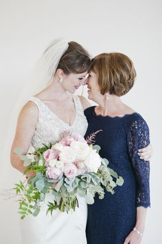 Touching moment for the bride and her mother: http://www.stylemepretty.com/new-york-weddings/beacon-new-york/2015/09/09/traditional-elegant-wedding-at-the-roundhouse-in-beacon-falls/ | Photography: CLY by Chung - http://www.clybychung.com/