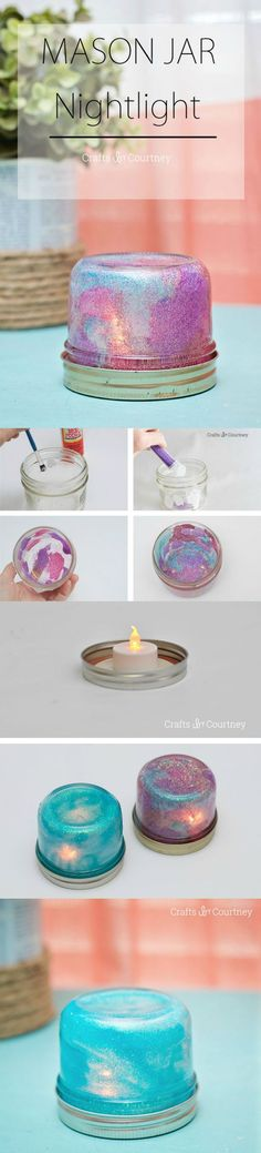 Make a Mason Jar Night Light in Three Easy Steps This DIY mason jar night light can be made on a budget and your kids can help. The glitter is so sparkly and fun! The post Make a Mason Jar Night Light in Three Easy Steps appeared first on Lace Diy. Cute Crafts, Crafts To Do, Crafts For Kids, Arts And Crafts, Mason Jar Projects, Mason Jar Crafts, Glitter Mason Jars, Ideas Paso A Paso, Pot Mason Diy