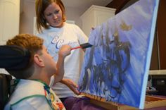 Christine Williams and her son Christian, who was born with cerebral palsy, have discovered painting together as a way to find moments of calm in their day. We love their story and artwork.