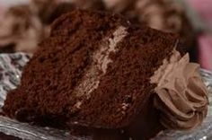 This Chocolate Chiffon Cake is moist and chocolately and has a mocha filling and is covered with a shiny chocolate glaze. From Joyofbaking.com With Demo Video