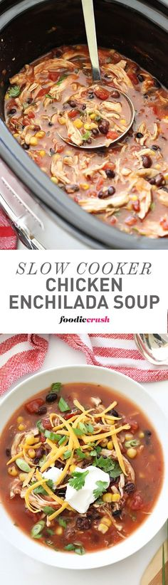 The crockpot cooked chicken came out perfectly tender and super easy to shred for an easy, healthy soup everyone loves! | foodiecrush.com Crockpot Chicken Enchilada Soup, Chicken Tenders Crockpot, While Chicken In Crockpot, How To Shred Chicken, Chicken Soups, Chicken Recipes, Chicken Tortilla Soup, Rotisserie Chicken, Chicken Chili