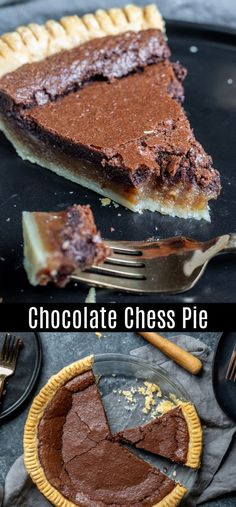 This Chocolate Chess Pie is a classic southern dessert that is easy to make and totally delicious. This old fashioned chess pie is made with cocoa and evaporated milk to create a sweet, decadent desse Southern Desserts, Köstliche Desserts, Dessert Recipes, Health Desserts, Chocolate Pie Recipes, Delicious Chocolate, Easy Chocolate Chess Pie Recipe, Fudge Pie Recipe With Cocoa, Chocolate Buttermilk Pie Recipe