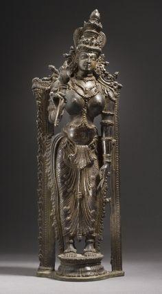 The Hindu Goddess Shri Lakshmi. India, Kerala, 16th century. Sculpture. Copper alloy.