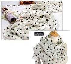 Various colour. All season 100% silk light weights scarf/shawl polk Dot. White and Black; Size: 135x170CM.